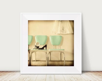 Domestic Fine Art Print--Vintage Chairs Mint Green Black Cream Mad Men 60s Black High Heels  Camera Mid Century Wholesale