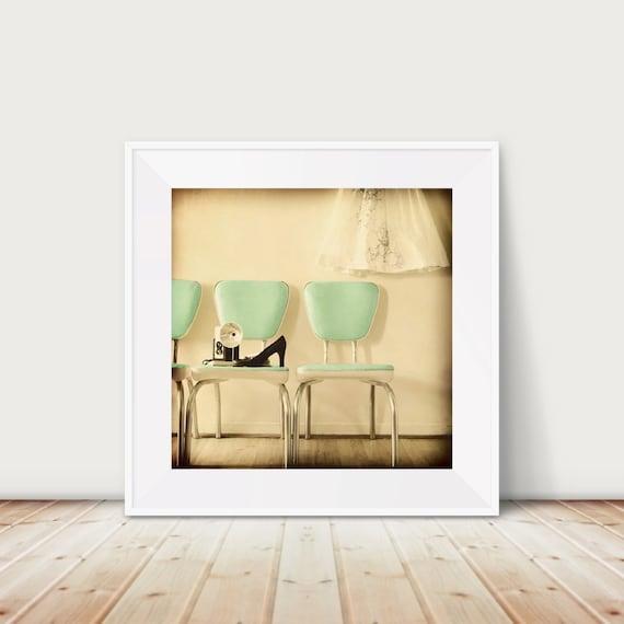 Domestic Fine Art Print--Vintage Chairs Mint Green Black Cream Mad Men 60s Black High Heels  Camera Mid Century Wholesale