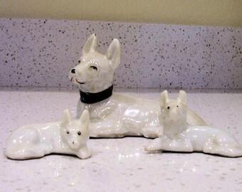 GERMAN SHEPHERD Family of 3 figurines Japan Vintage 1950s