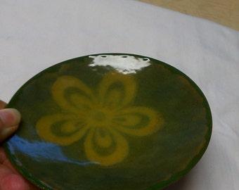 Enamel glass vessel, two tone stencil enamel glass vessel, enamel dish, hand crafted enamel, enamel art vessel