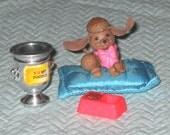 LPS Fancy Poodle with Comfy Cushion, G1 Littlest Pet Shop, Kenner 94