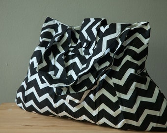Purse or Project Bag with Bold Chevron Pattern