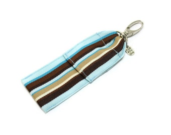Lip Balm Holder , Chap Stick Holder, Flash Drive Pouch, USB Key Holder - Blue and Brown Stripes