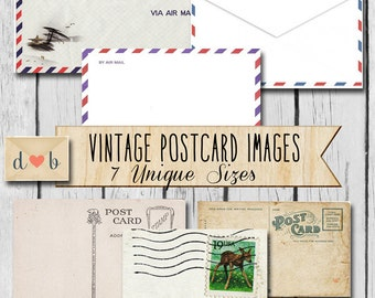 Digital Download - VINTAGE AIRMAIL LABELS - Digital Collage Sheets & 7 individual images