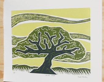 Tree Artwork, Olive Tree, Woodcut Print, Mediterranean Decor, Tree Art Print, Fruit Tree, Woodblock Print, Nature Decor, Olive Tree Art