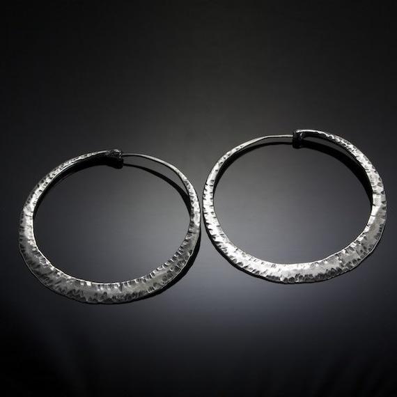 Extra Large Cross Peen Textured Silver Hoop Earrings
