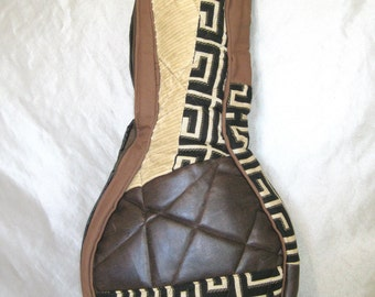 A Style Mandolin Case - Beginner Case - Gig Bag in Black Brown Patchwork Gig Bag Musician Gift PIF