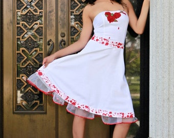 Bleeding red roses blood splatter dress white goth prom wedding stage wear recycled It's Me Designs pin up rocker size 9 tattoo macabre