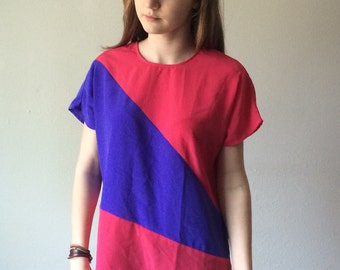 80s Colorblock Blouse, Pink and Blue, Oversized, Kimono Sleeve, Dolman, Boxy Fit, Avant Garde, Minimal, Boxy Fit, Short Sleeve Shirt