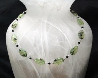 Prehnite, Swarovski crystal, and sterling silver necklace