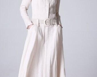 day dress,Maxi linen dress women dress spring long dress (1179)
