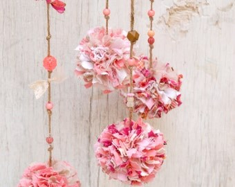 Baby Shower Gift, Pink Pompoms Mobile Branch, Eco Friendly Baby Girl Room Decor, Dusty Pink Rustic Nature Home Decoration