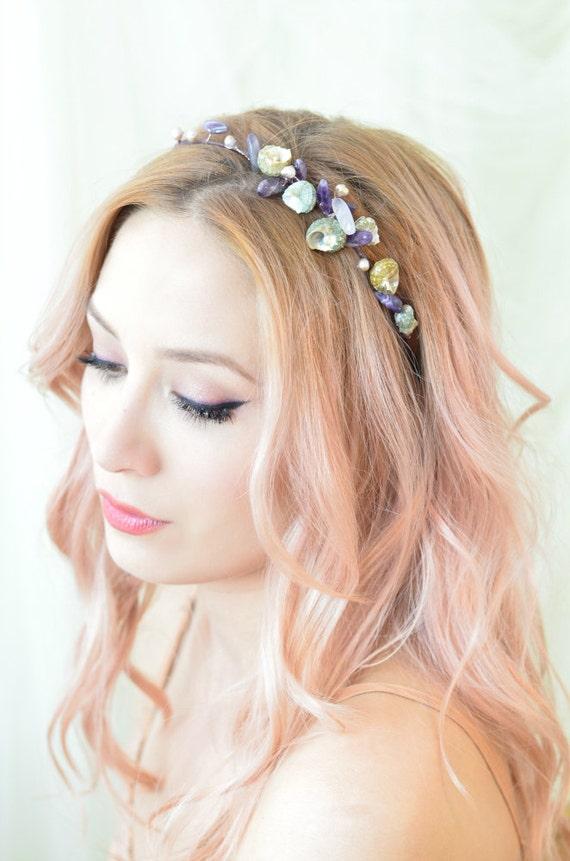 Amethyst Crown Pearl And Shell Headband Mermaid Head Piece