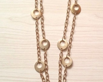 Sale... Elegant Modern Golden Coin Disc Necklace. Perfect Jewelry Gift. Gift for her. ETSY Gift.