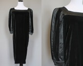 Louis Feraud Dress Vintage Designer Black Velvet Cocktail Party Dress Small Medium