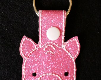Pig/Hog  Key Chain (Key Fob, Snap Tab)