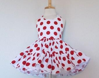 White & Red Polka Dot Twirly Halter Dress Sundress full ruffled skirt Infant Baby Toddler Girl 3-6M 6-12M 12-18M 18-24M 2T 3T 4T 5 6 7 8