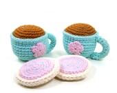 Tea and Cookies Stuffed Toy Play Set, Tea Party Pretend Food Play, Crochet Tea Cups Sugar Cookies Doll Tea Set, Girl Birthday Gift