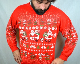 Vintage 80s Puffy Christmas Glitter Santa Claus XMAS Holiday Sweatshirt