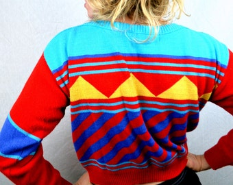 Best Vintage 80s Geometric Cropped Knit Sweater by Eclipse Los Angeles