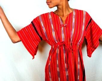 Vintage 80s Ikat Cotton Hippie Maxi Dress