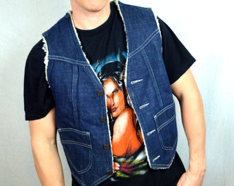 Vintage Boho Mexican Denim and Shearling Vest by Mackey