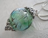 Spiritual Heaven & Earth Ombre Blue Green Dandelion Seed Reliquary Terrarium Pendant-Gifts Under 35-Nature's Art-Symbolizes Happiness