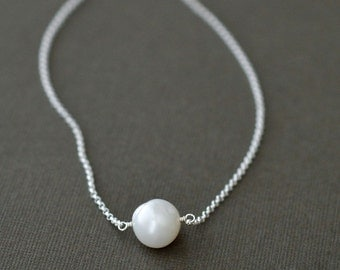 Solitaire Pearl Necklace, Sterling Silver, Single Pearl, Floating Pearl, Simple Jewelry, 16 Inch, 18 Inch