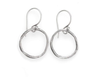 Oxidized Silver Earrings - Silver Circle Earrings - Earrings for Teens - Rustic Jewelry - Peace Circle - (ES-CLL-MS)