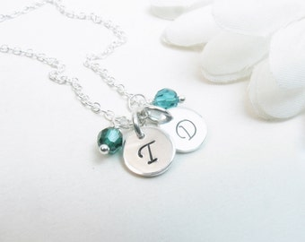 Sterling Silver Initial Disc Necklace // Silver Disc Necklace // Silver Initial Necklace // 2 Discs Necklace // Birthstone Necklace
