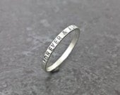 Personalized Ring - Sterling Silver Stackable Ring - 2mm x 1mm Thin Band Ring - Hand Stamped Ring