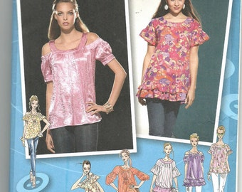 Uncut, Misses Size 4-12, Sewing Pattern, Simplicity 2961, Project Runway, Woman, Tunic Top, Blouse, Shirt, Open Shoulder, Tiers, Ruffles