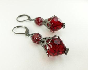 Large Red Earrings Dangle Earrings Dark Red Earrings Gunmetal Leverback Glass Dangle Earrings Beaded