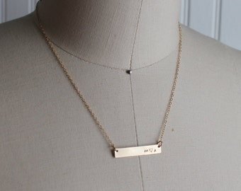personalized gold bar necklace, skinny name necklace, gold filled, bar pendant, layering necklace, initial engraved necklace, minimalist
