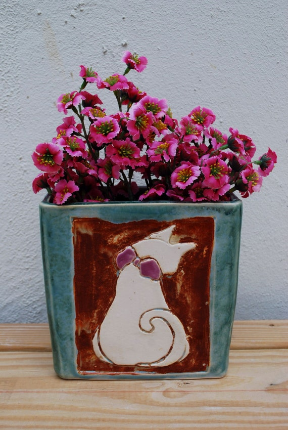 cute handmade ceramic cat planter