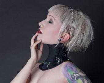 Underwater Love Iridescent Spiked Steel Boned Neck Corset Posture Collar