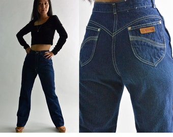 Vintage 80s High Waist Jeans / GITANO Dark Denim Jeans / Slim Fit Straight Leg High Waisted Jeans / 80s Mom Jeans / 26 Waist