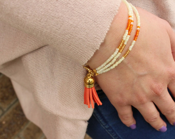 Orange Layered Beaded Tassel Bracelet.