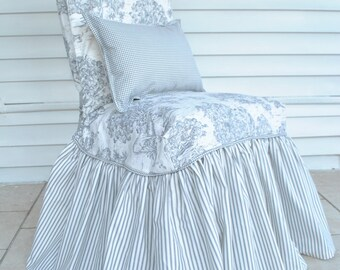 Toile and Ticking Stripe Light Grey Slipcover