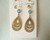 Vintage Jewelry Sapphire Blue  Crystal Dangle Earrings