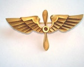 Eagle Head French Hallmark for 18K  Gold WW 2 US Army Air Corps Propeller Insignia Vintage Jewelry Brooch