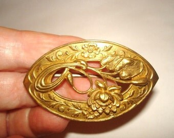 Antique Flower Signed Fishel Nessler Co.Repousse Gold Tone Brooch