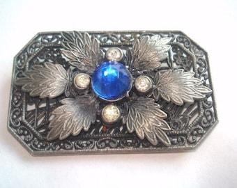 Blue Rhinestone Flower Leaf Silver Tone Brooch.