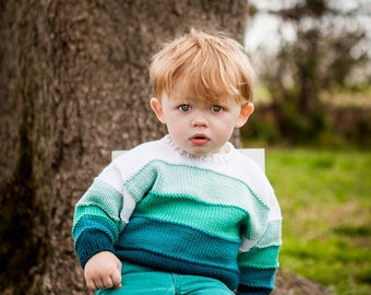 Children Clothing -- Boys Hand Knit Baby Sweater -- Aqua/Blue-Green Ombre Color Block -- MONROE STREET -- Perfect for Spring Baby Showers