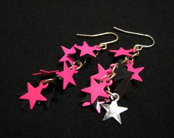 Vintage Silver Tone Pink and Black Cascading Star Dangle Pierced Earrings