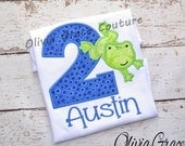 Boys Frog Birthday Shirt, Girls Frog Birthday, Ribbit Embroidered Applique Shirt or Bodysuit, For 1st Birthday, 2nd birthday, 3rd birthday