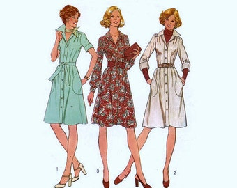 Vintage 1970s Pattern Shirtdress Convertible Collar Large Side Pockets Tie Belt 1975 Simplicity 7048 Bust 34 UNCUT