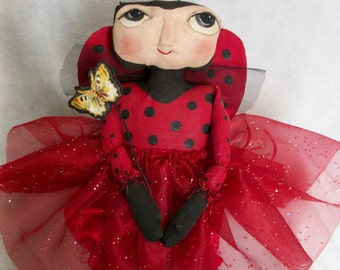 Primitive folk art  15 in. lady bug doll Pattern, by Dumplinragamuffin, HAFAIR,AB4b,ofg