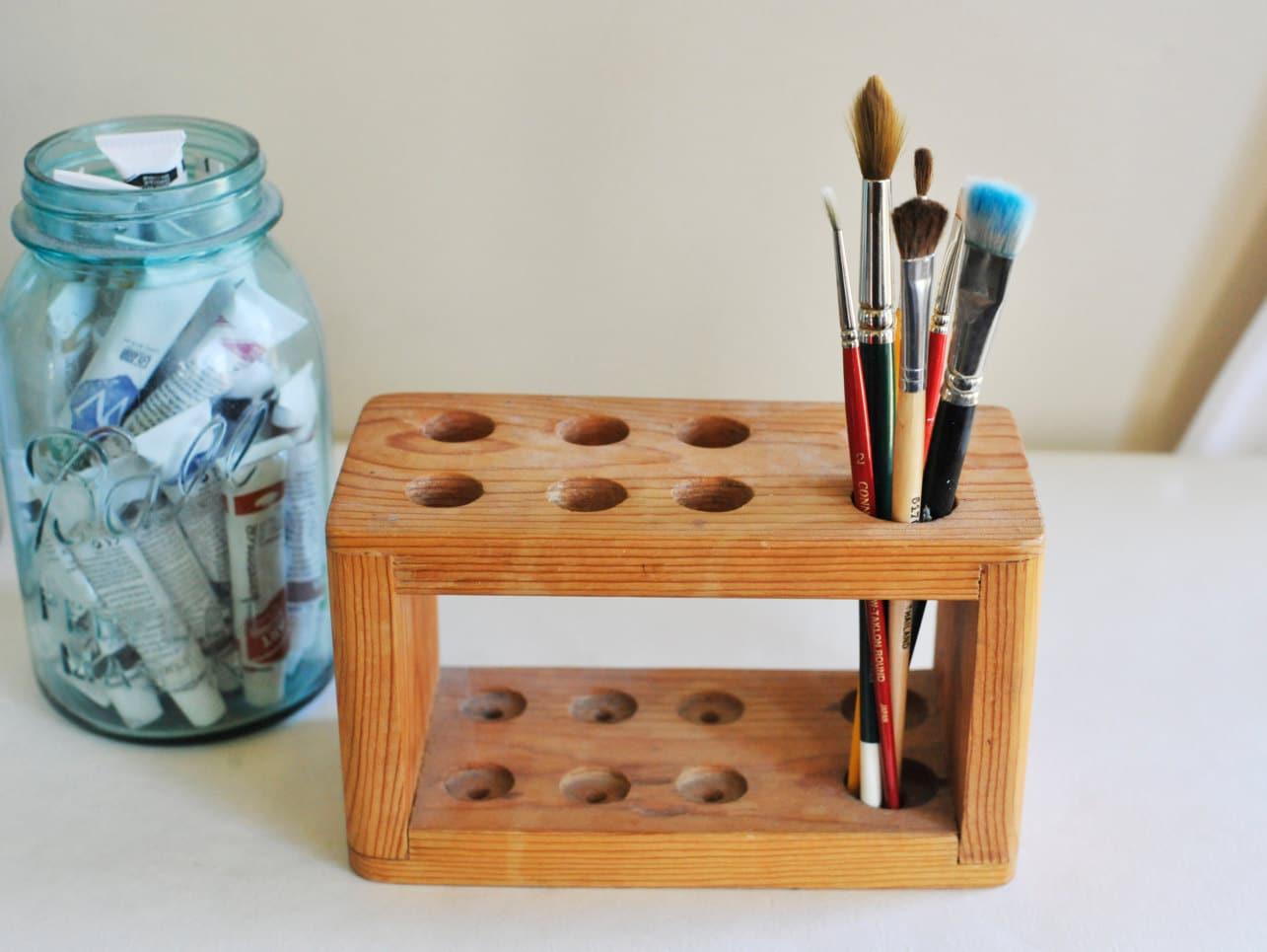 Vintage Wooden Test Tube Holder Paint Brush Holder Chemistry