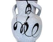 Vintage MID CENTURY MODERN Art Pottery Vase Blue Mod Twist Handles Black Enamel Swirl Design